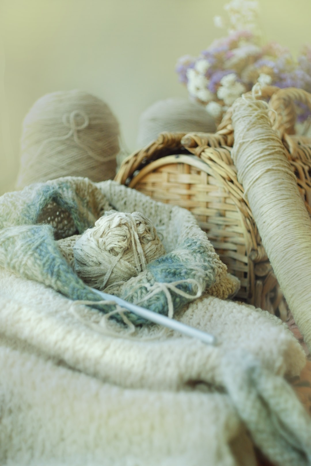 Handicraft essentials for knitting and croqueting when staying at home hobby set