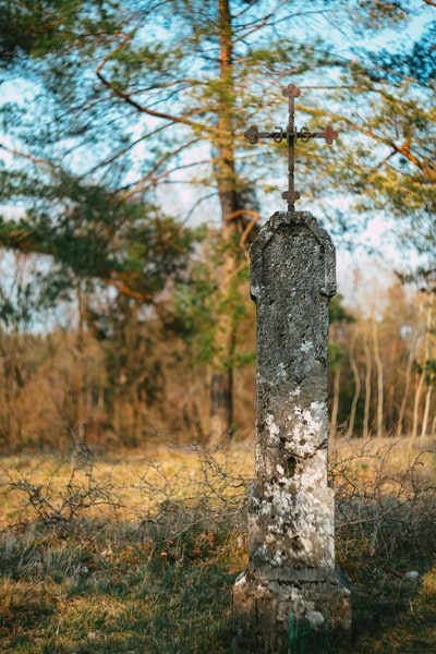 Catholic cross –memorial stone. Made with Canon 5d Mark III and analog vintage lens, Helios 44M 2.0 58mm (Year: 1977)
