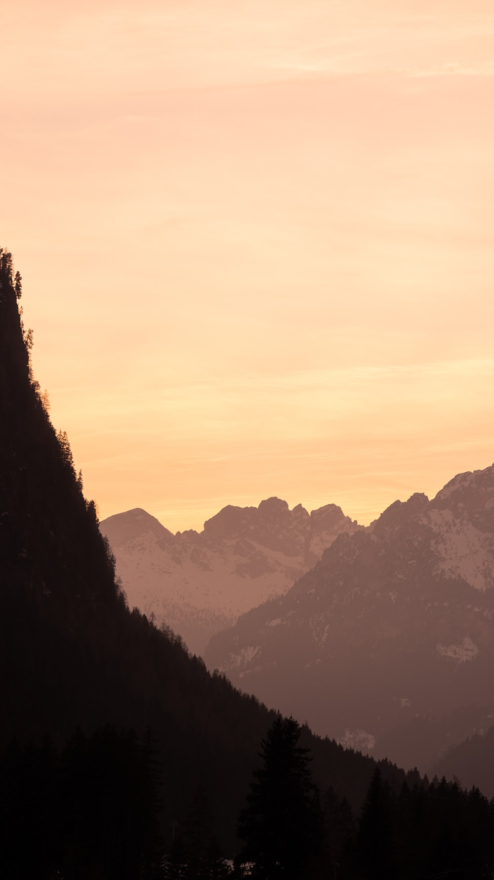 silhouette of trees and mountains during sunset