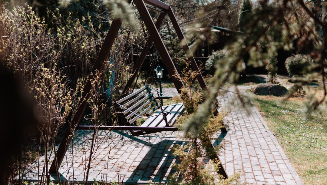 A wooden swing.