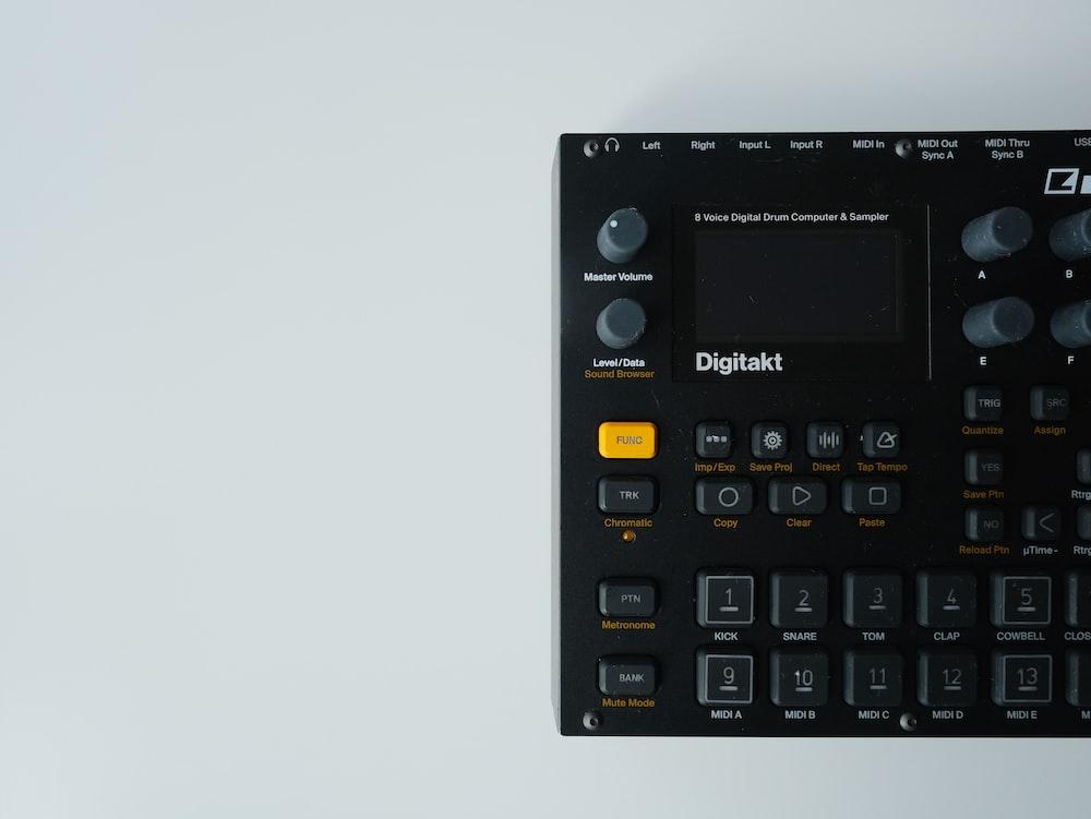 black and gray digital calculator