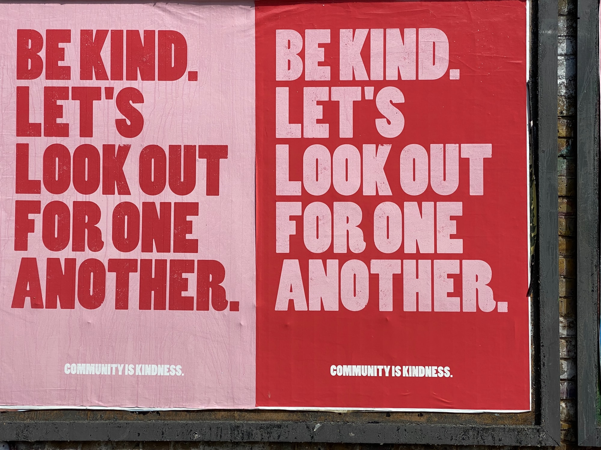 Posters in Brick Lane, east London encourage community spirit