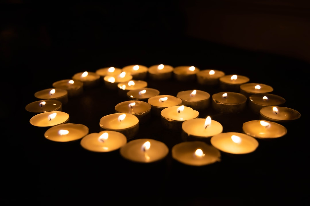 Peace sign made of candles