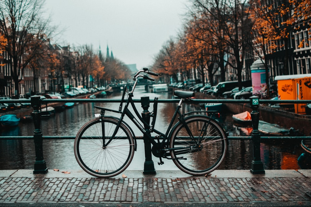black bicycle parked beside black metal fence during daytime