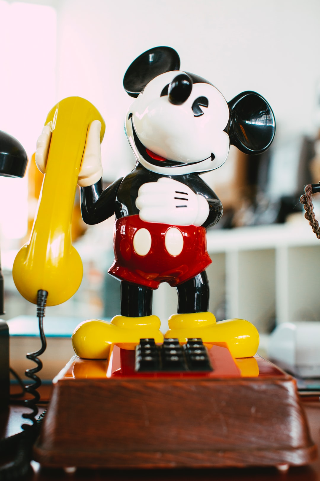 Vintage classic retro analog disney mickey mouse motive telephone