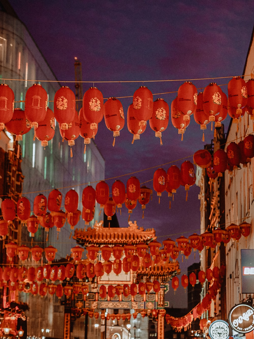 red paper lanterns hanging on ceiling