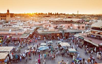 Marrakech biggest market in Morocco. Jama el Fna traditional market and Marrakech city symbol