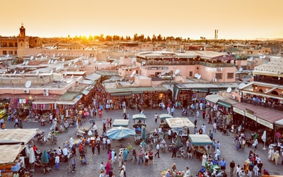 Marrakech biggest market in Morocco. Jama el Fna traditional market and Marrakech city symbol