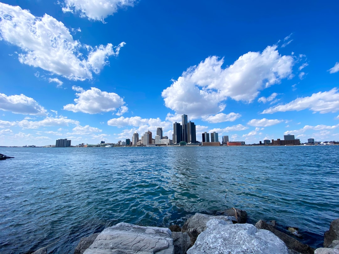 Riverside in Windsor looking across to Detroit, Michigan