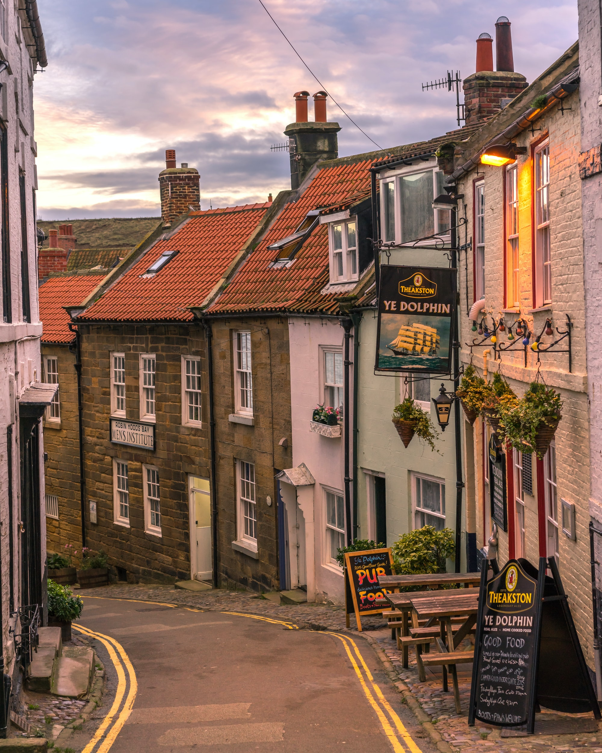 Ye Dolphin pub in Robin Hood's Bay. Traditional English pub very close to the sea on the east coast of England.   Photo by Michael Cummins Photography at www.michaelcummns.co.uk