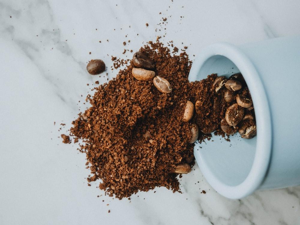brown powder on white ceramic bowl