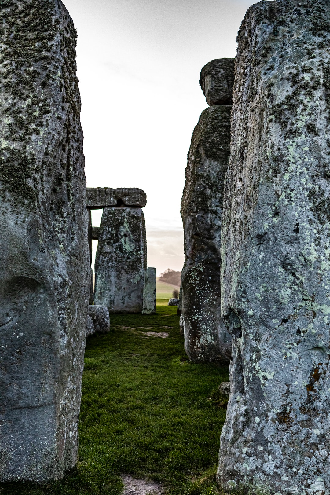 Prehistorical heritage site, cirle of monliths, Stonehenge, England, UK, February 2020.
