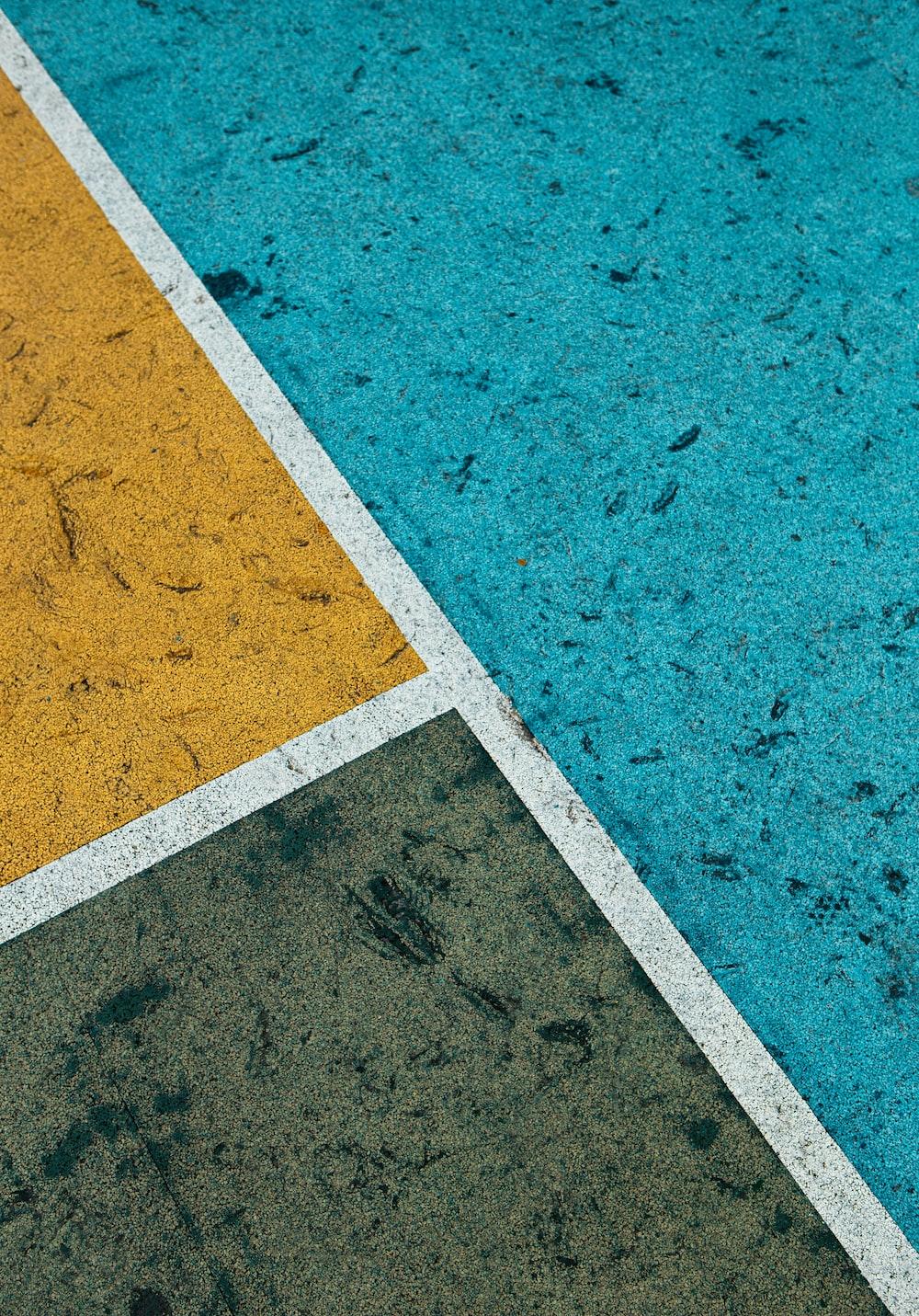 white and blue concrete floor