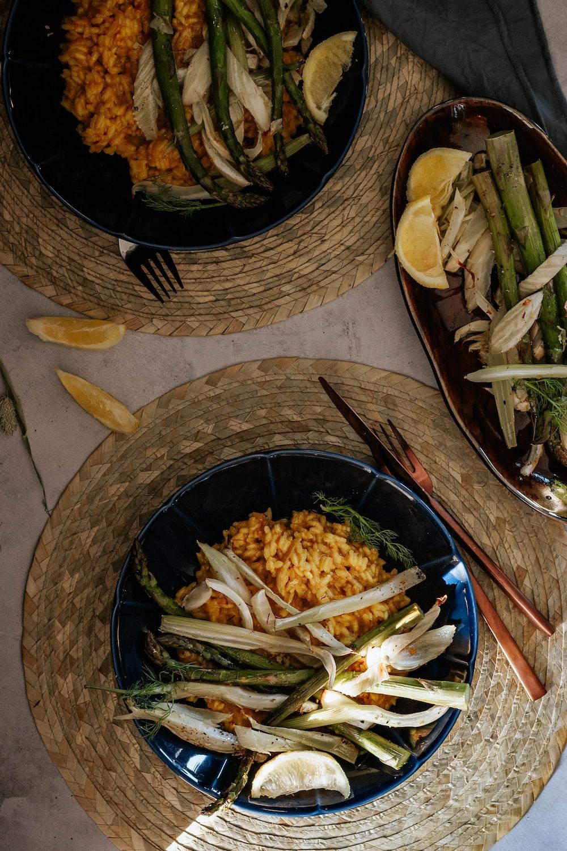 black ceramic bowl with food
