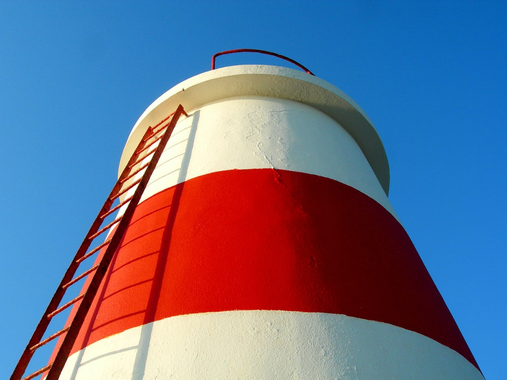 red and white striped tower