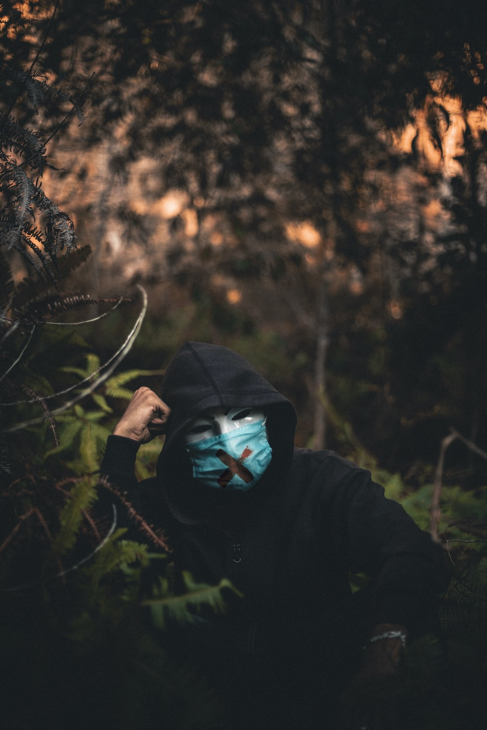 person in black hoodie standing in forest during daytime