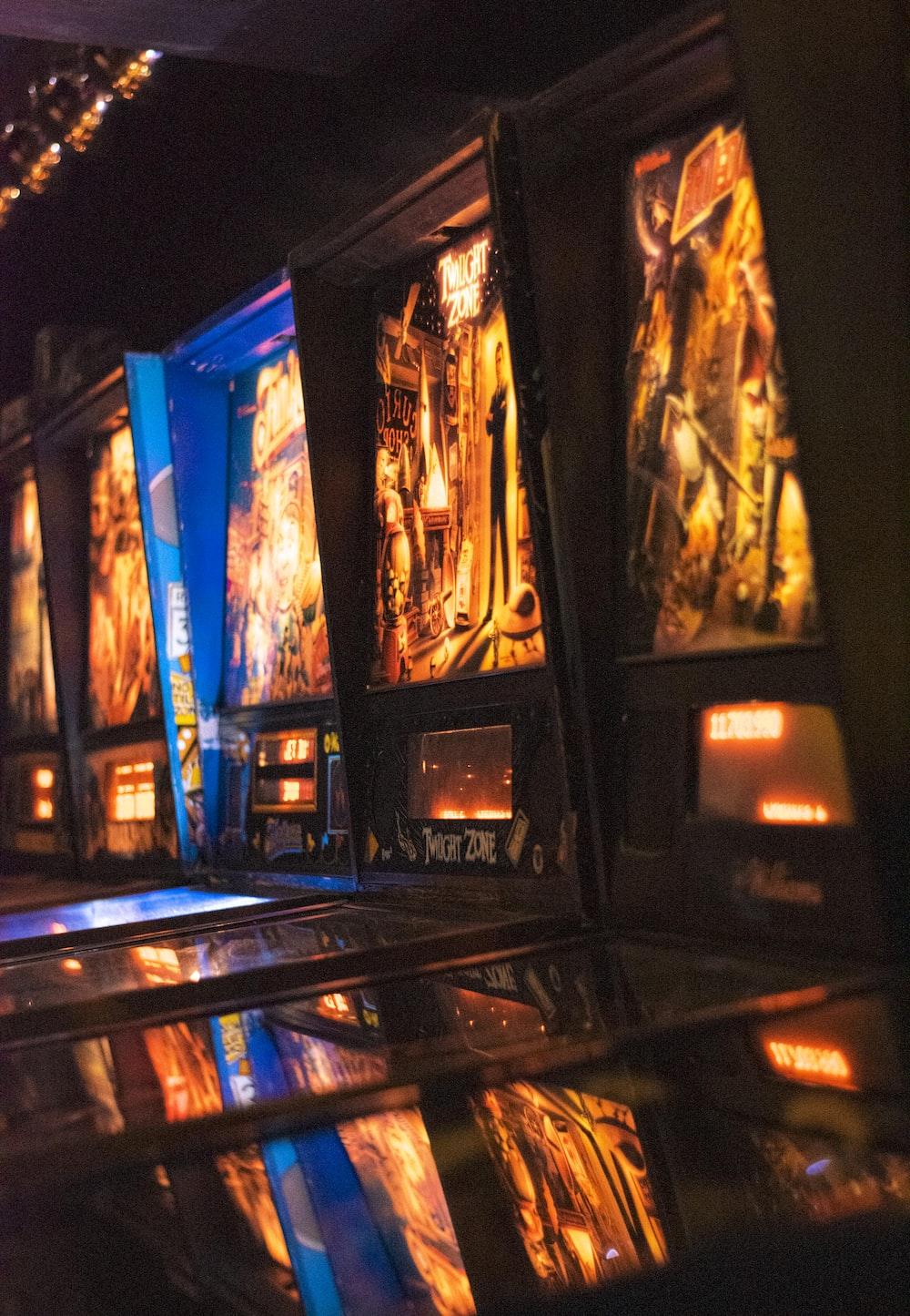 black and blue game machine