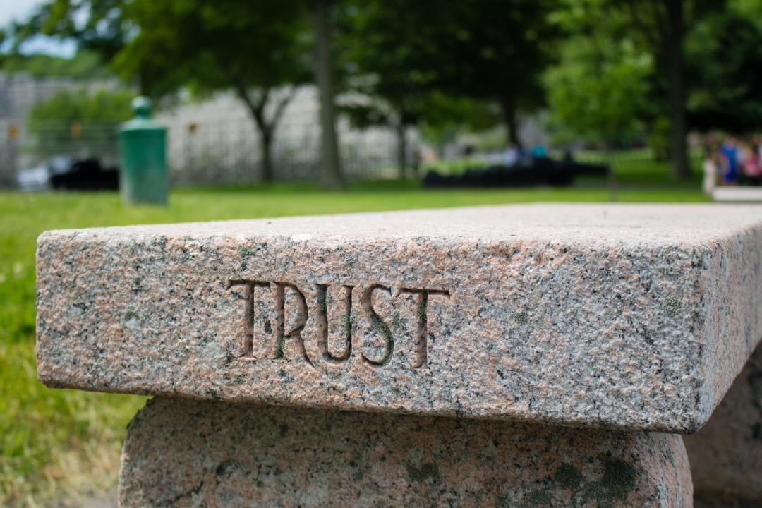 """""""Trust"""" Bench near Trophy Point at West Point"""