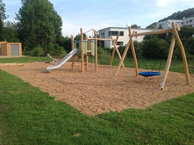Kompan Playground with organic Robinia products Marienstein, Deutschland