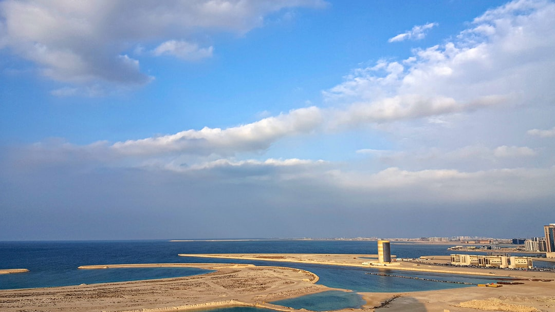 A rare cloudy day of seaside view of Bahrain