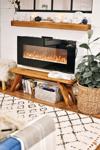fireplace with a glass cover