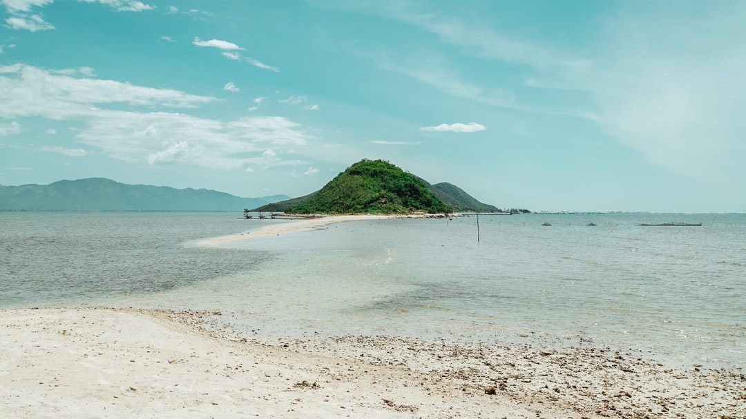 Appearing the divine path between the sea at Diep Son Island in Khanh Hoa province, Vietnam