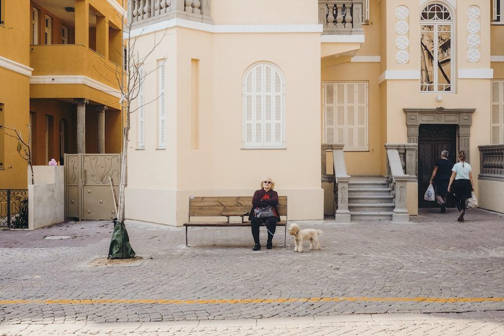 man in blue jacket sitting on bench beside white dog during daytime