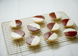six brown and white heart shaped decors