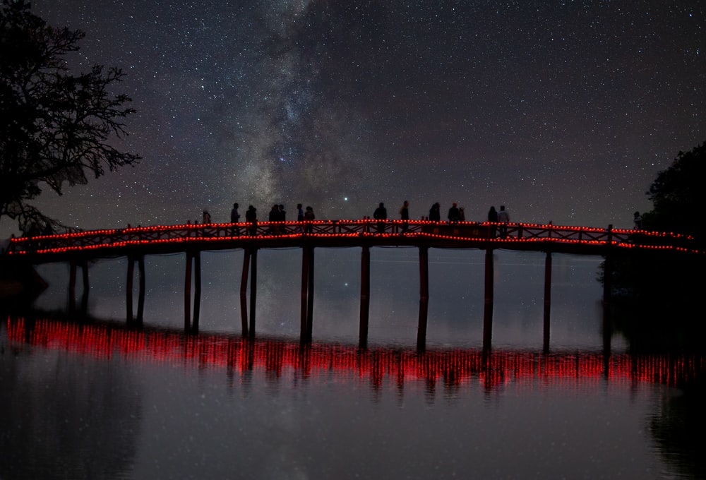 brown wooden dock on body of water during night time