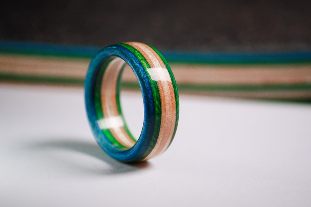 green blue and yellow ring