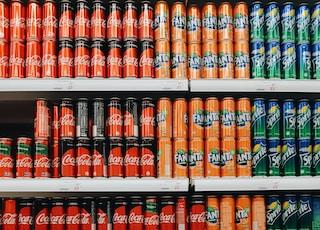 blue and orange labeled bottles