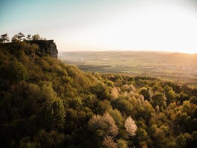 evening, trees, Staffelberg, hill, mountain