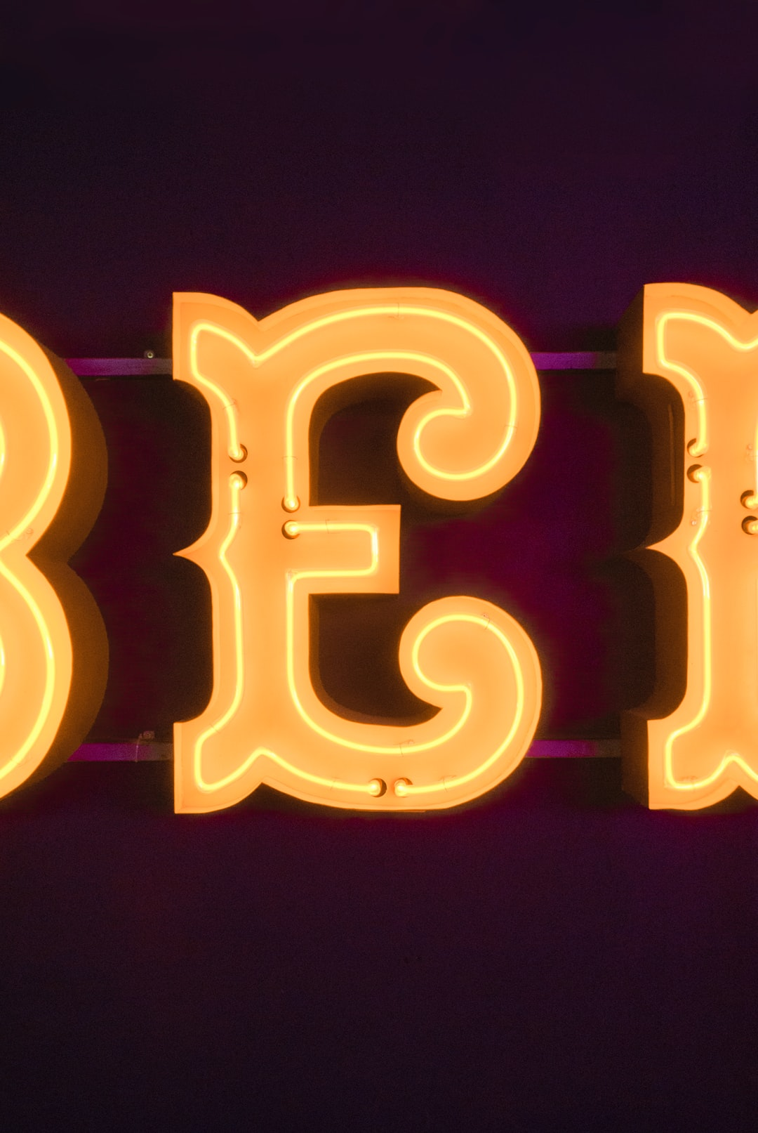 "Letter ""e"" neon sign"