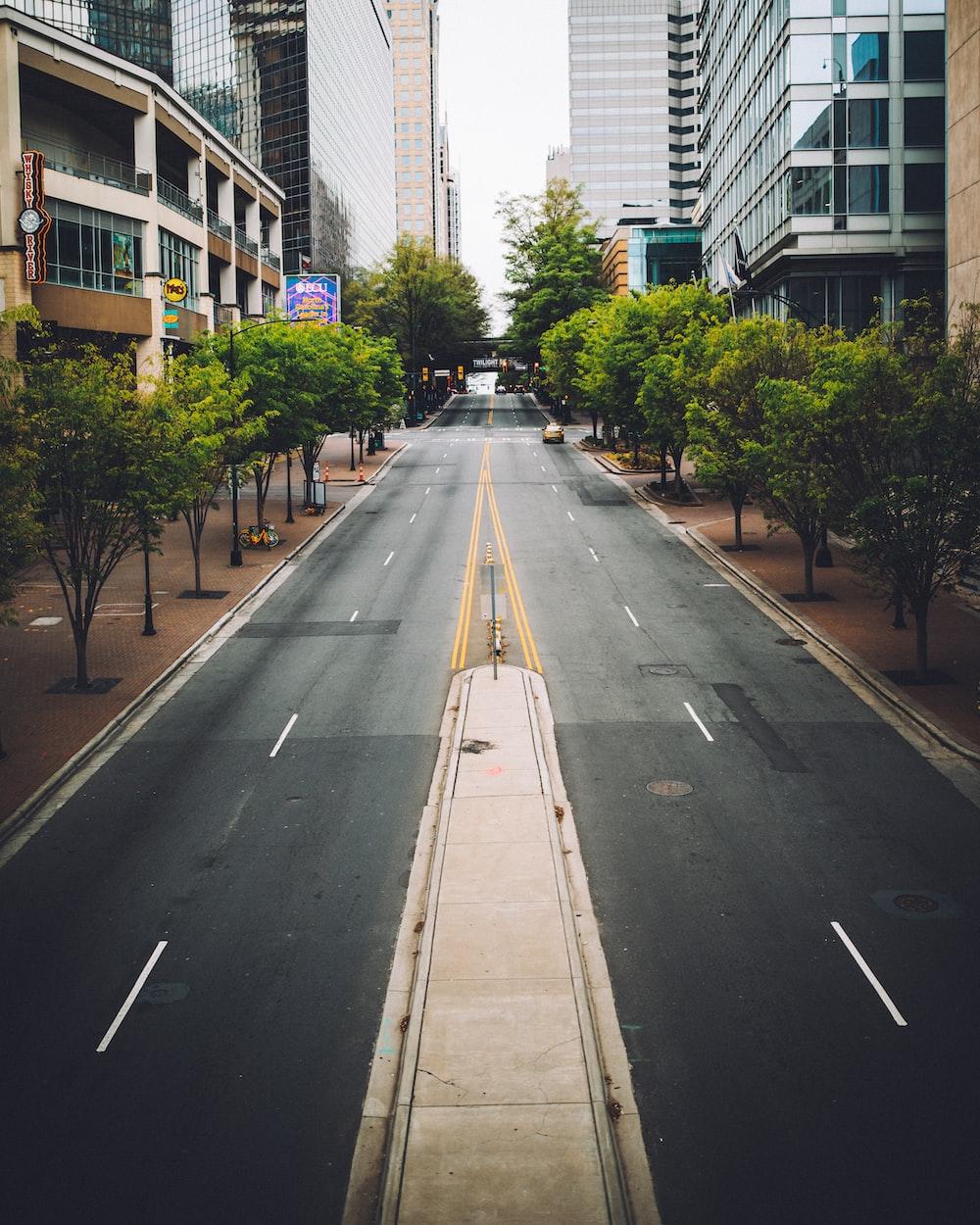 gray asphalt road between high rise buildings during daytime