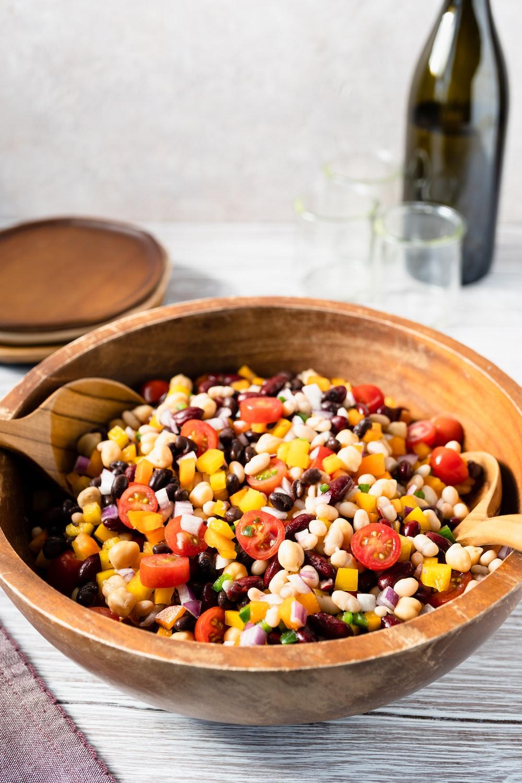 fruit salad in brown wooden bowl