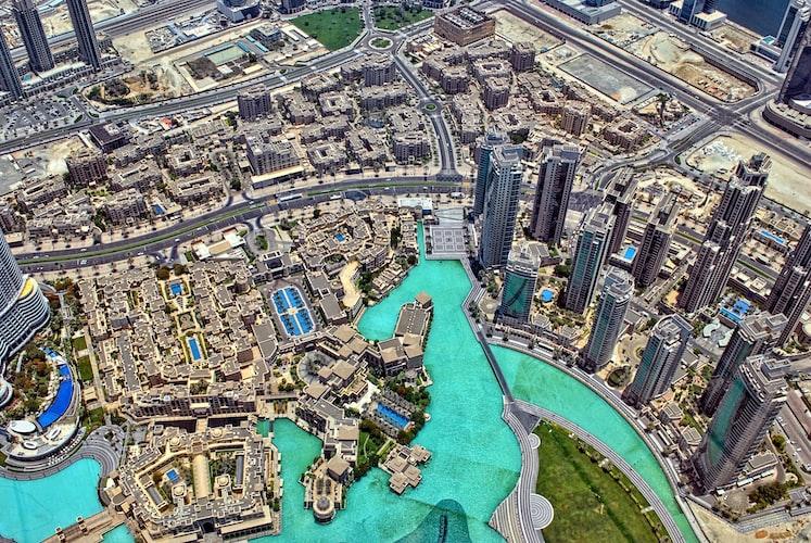 Aerial view of Dubai city from the Burj Khalifa.