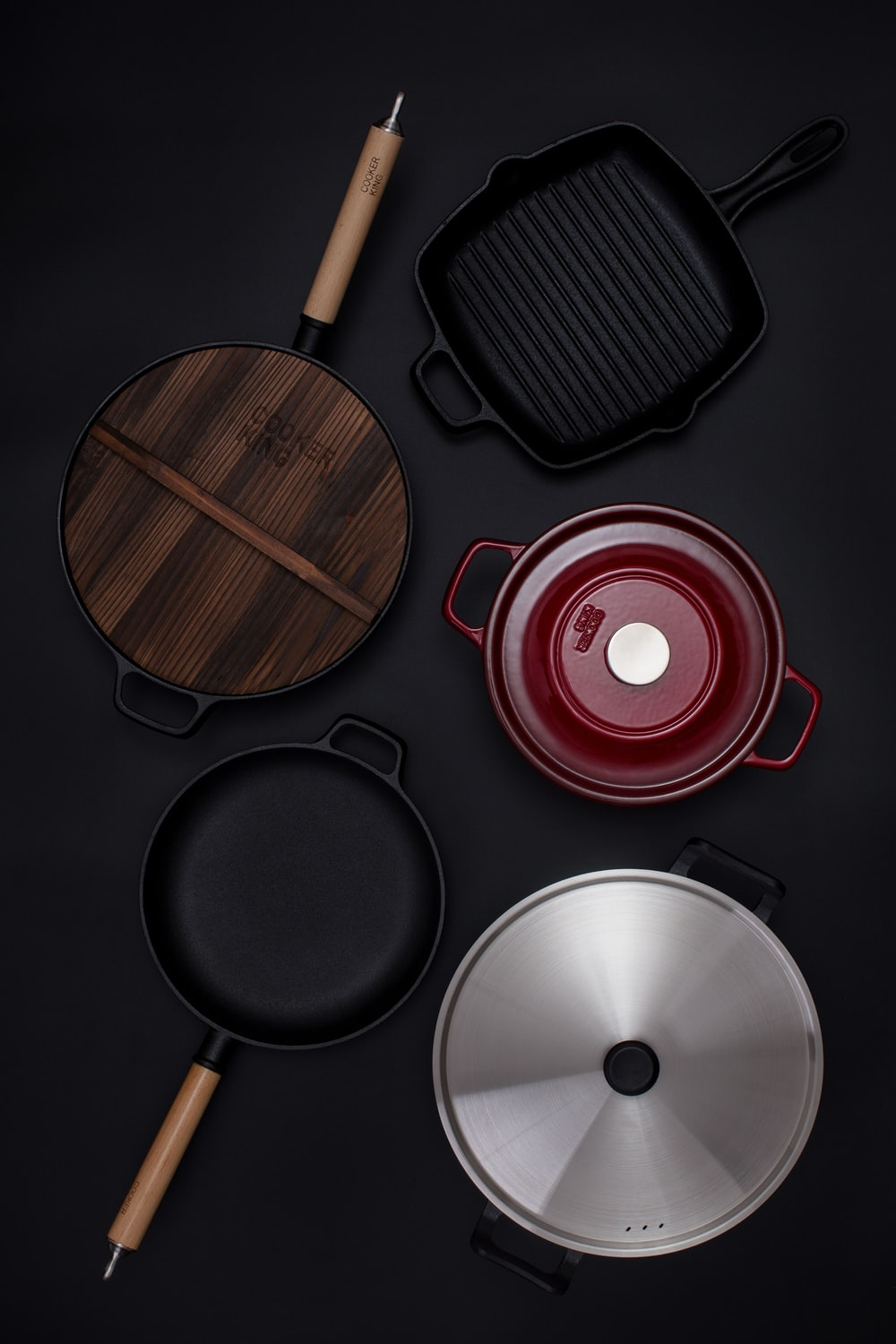 red and black cooking pot