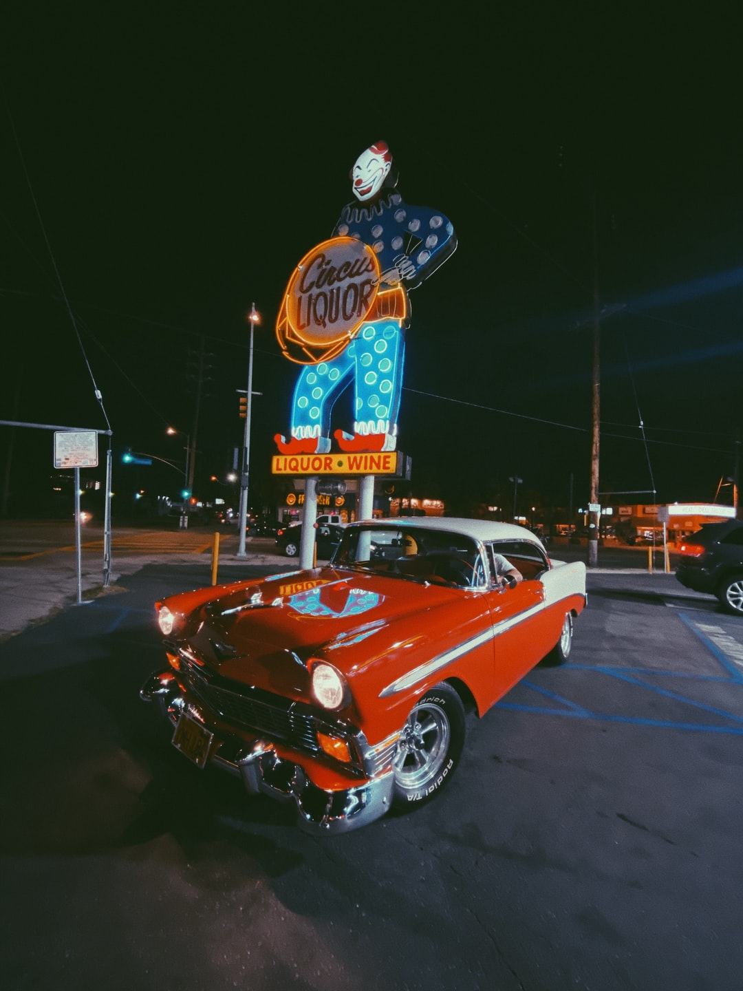 1956 Chevy BelAir in front of Circus Liquor