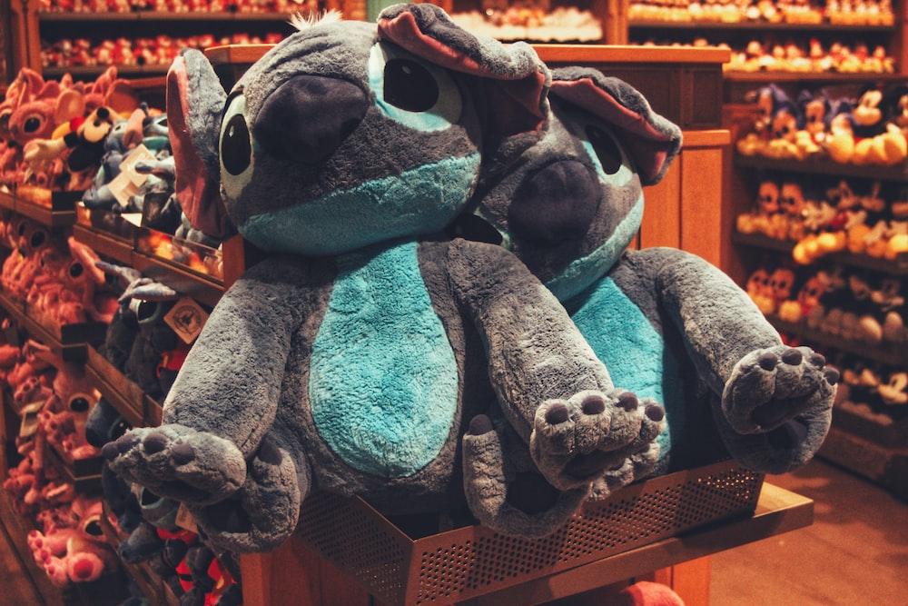 blue and white animal plush toys