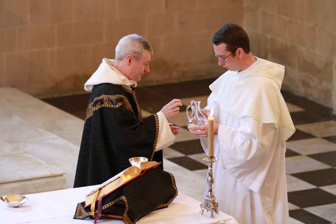 Wine and water are brought to the altar for the Requiem Mass (1 May 2020) in Blackfriars Oxford for Father David Sanders, Dominican friar, who died three days after a positive COVID-19 test result.