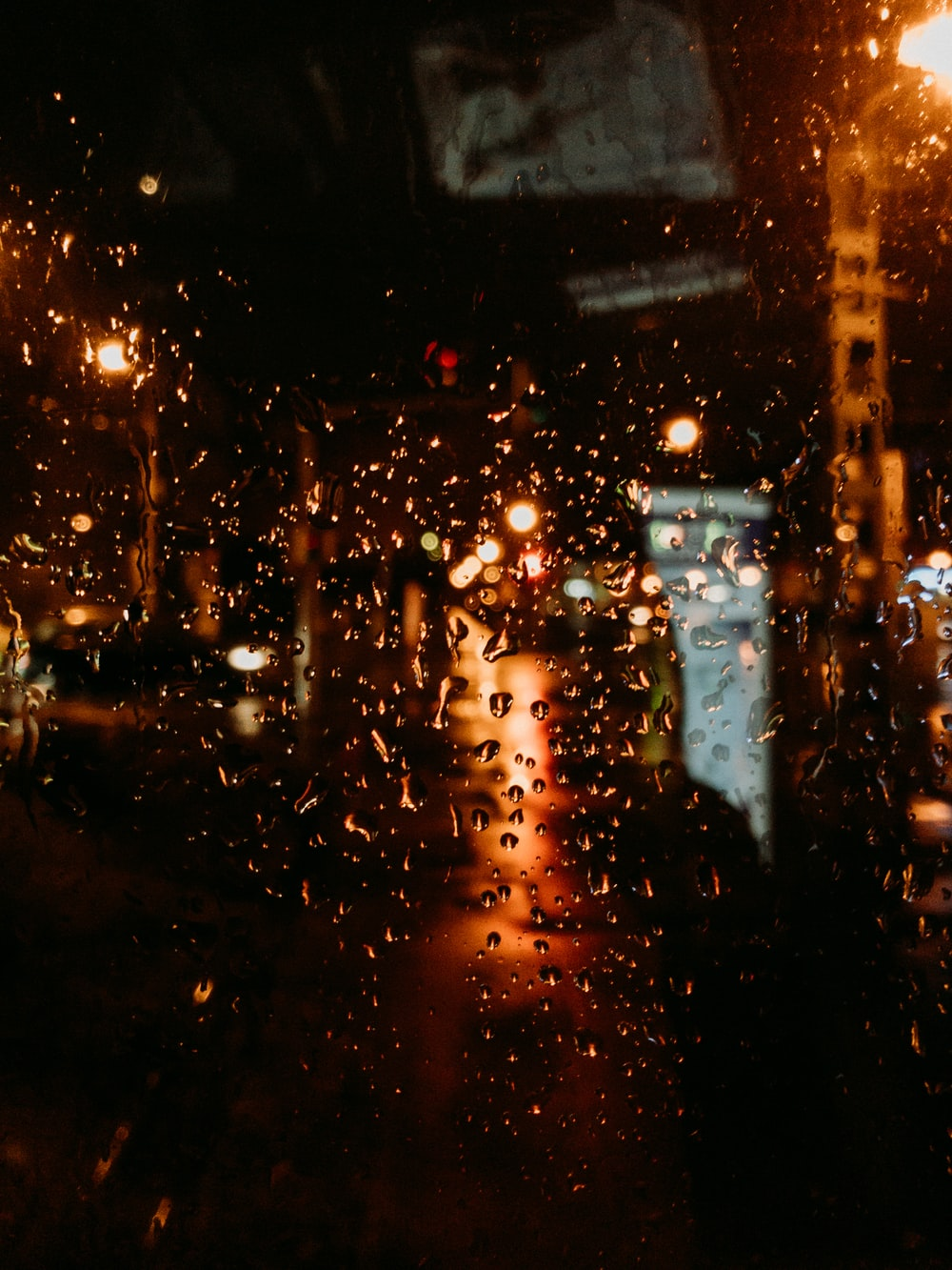 water droplets on glass window during night time