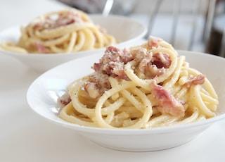 pasta dish on white ceramic plate