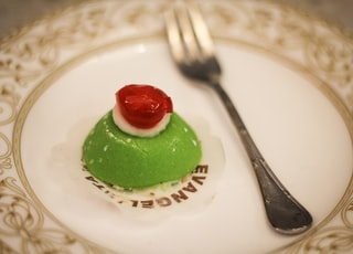 green and white cake on white ceramic plate