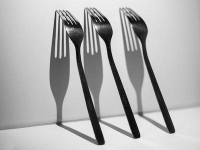 black fork and bread knife