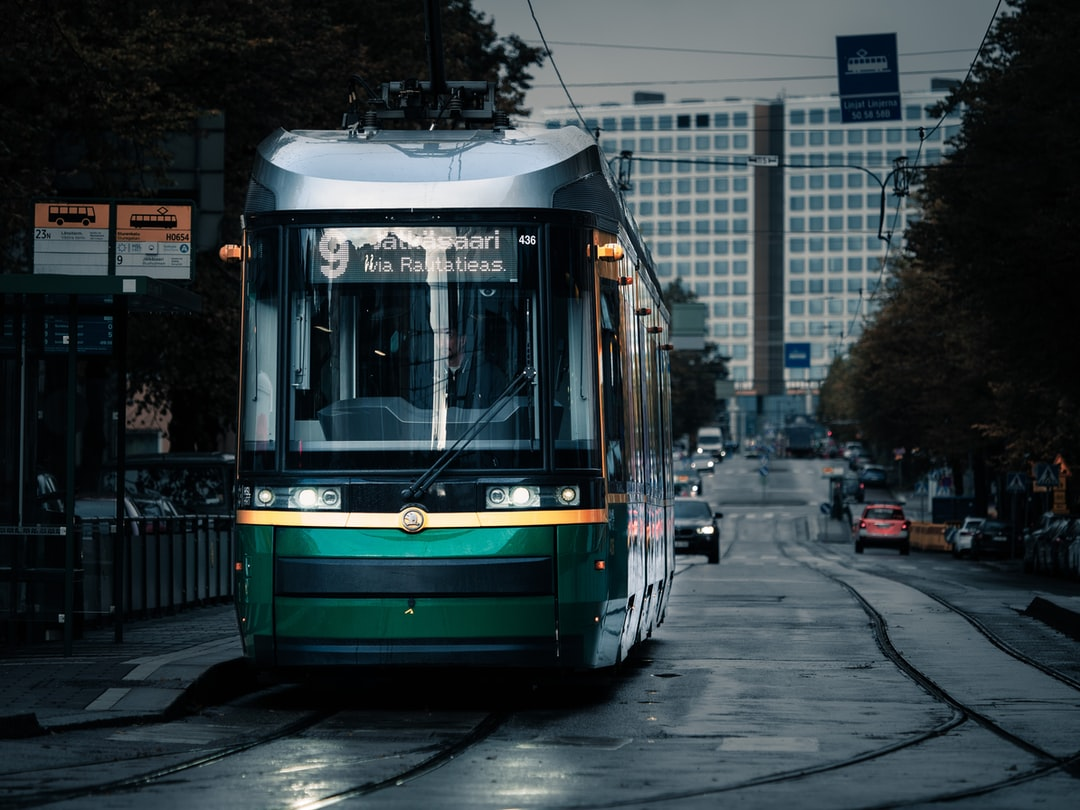 Tram and grey mornings of autumn.