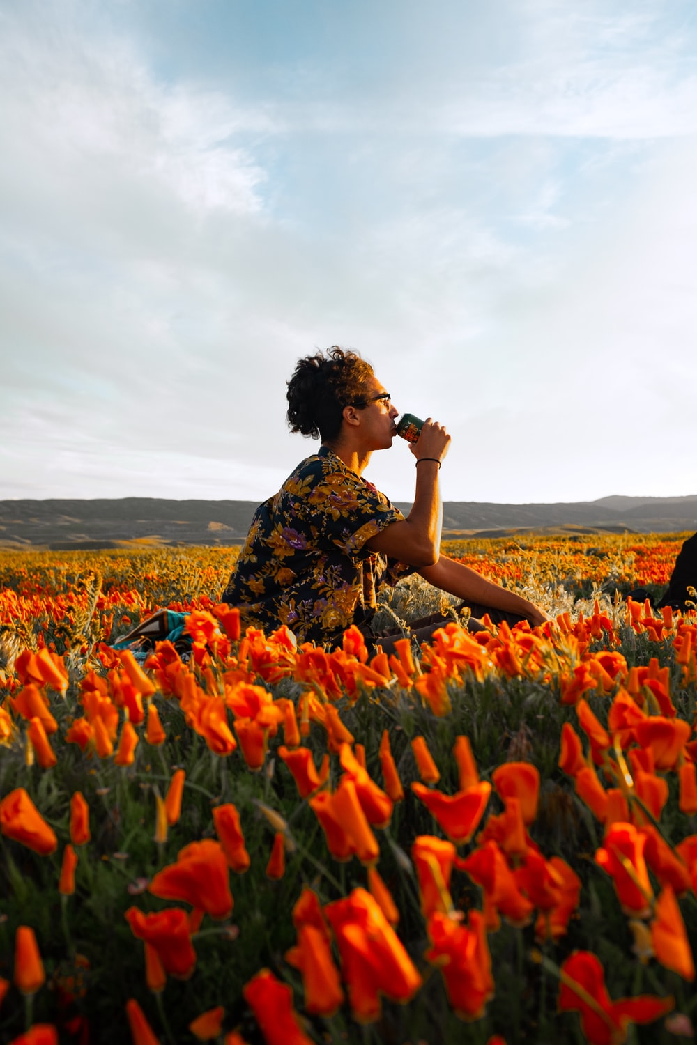 woman in black and brown floral dress sitting on red flower field during daytime