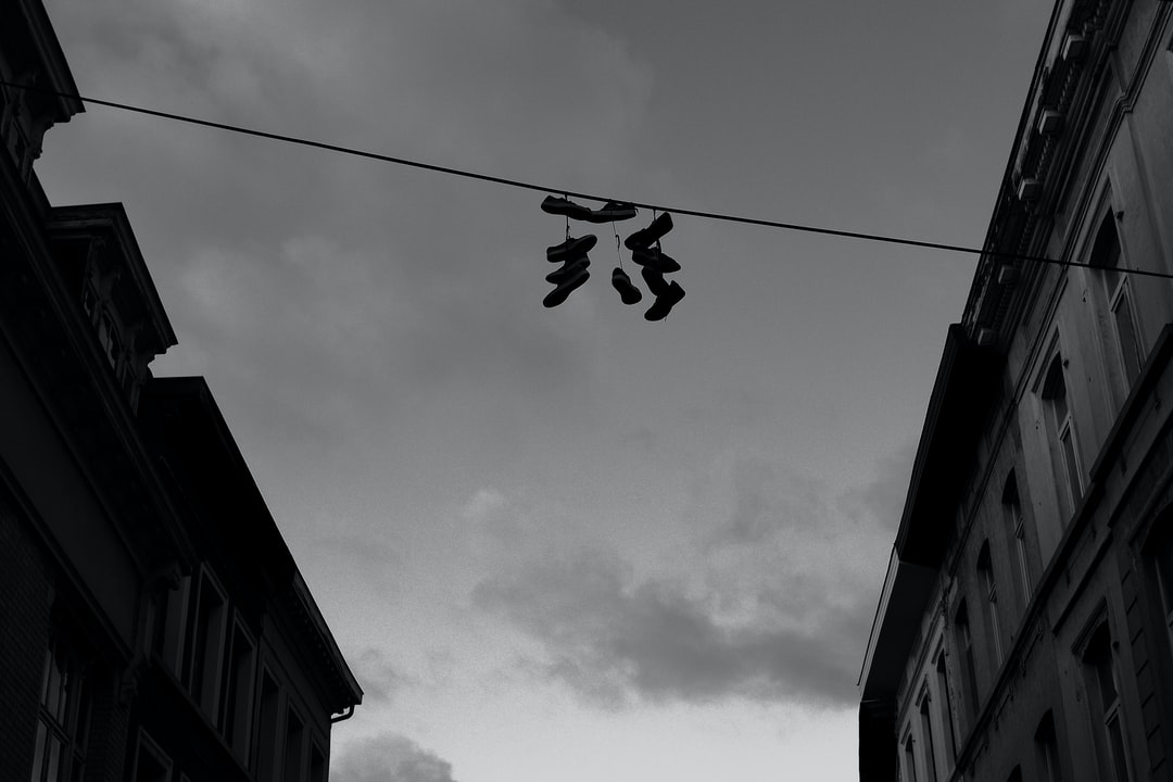 An interesting ritual of hanging shoes in the neighborhood