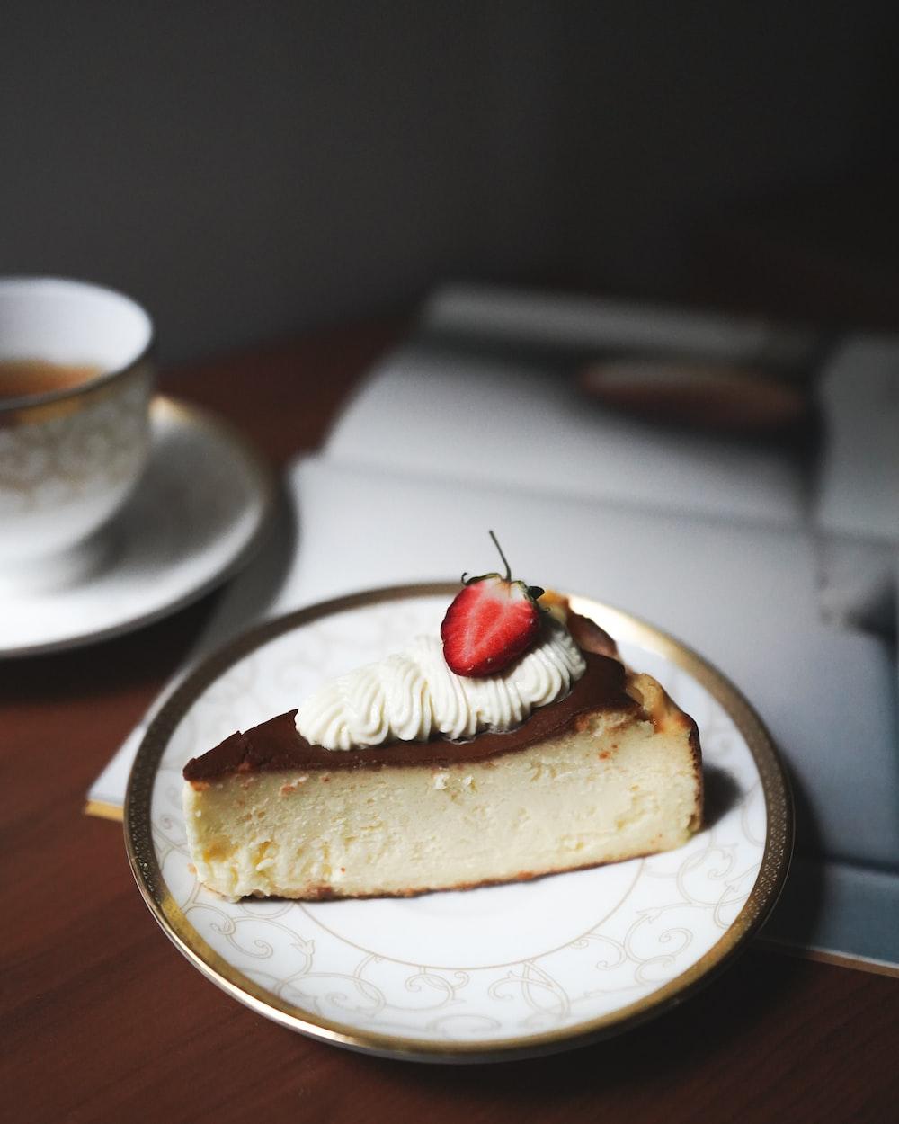 brown cake on white ceramic plate