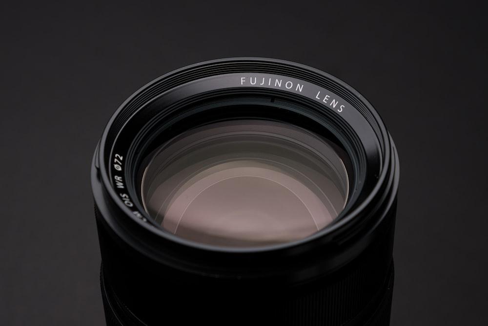 black camera lens with lens