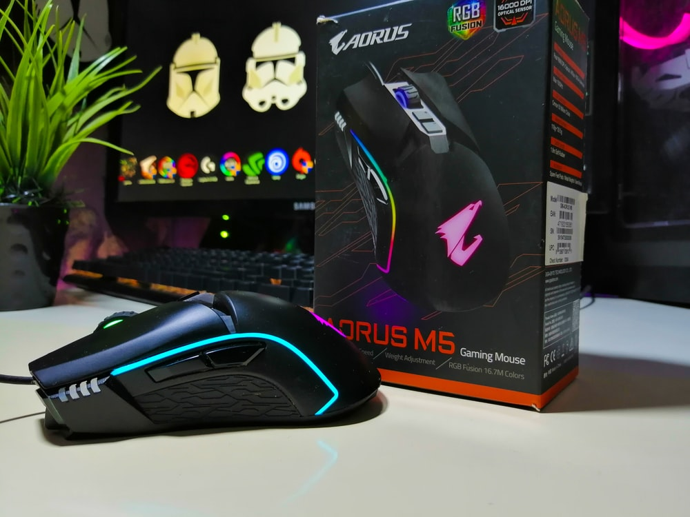 black and red gaming mouse